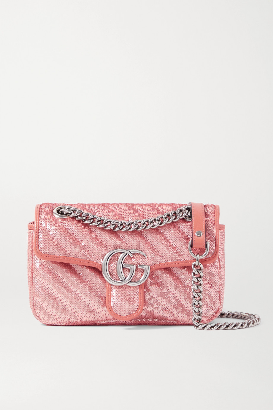 Gucci GG Marmont mini leather-trimmed sequined silk shoulder bag