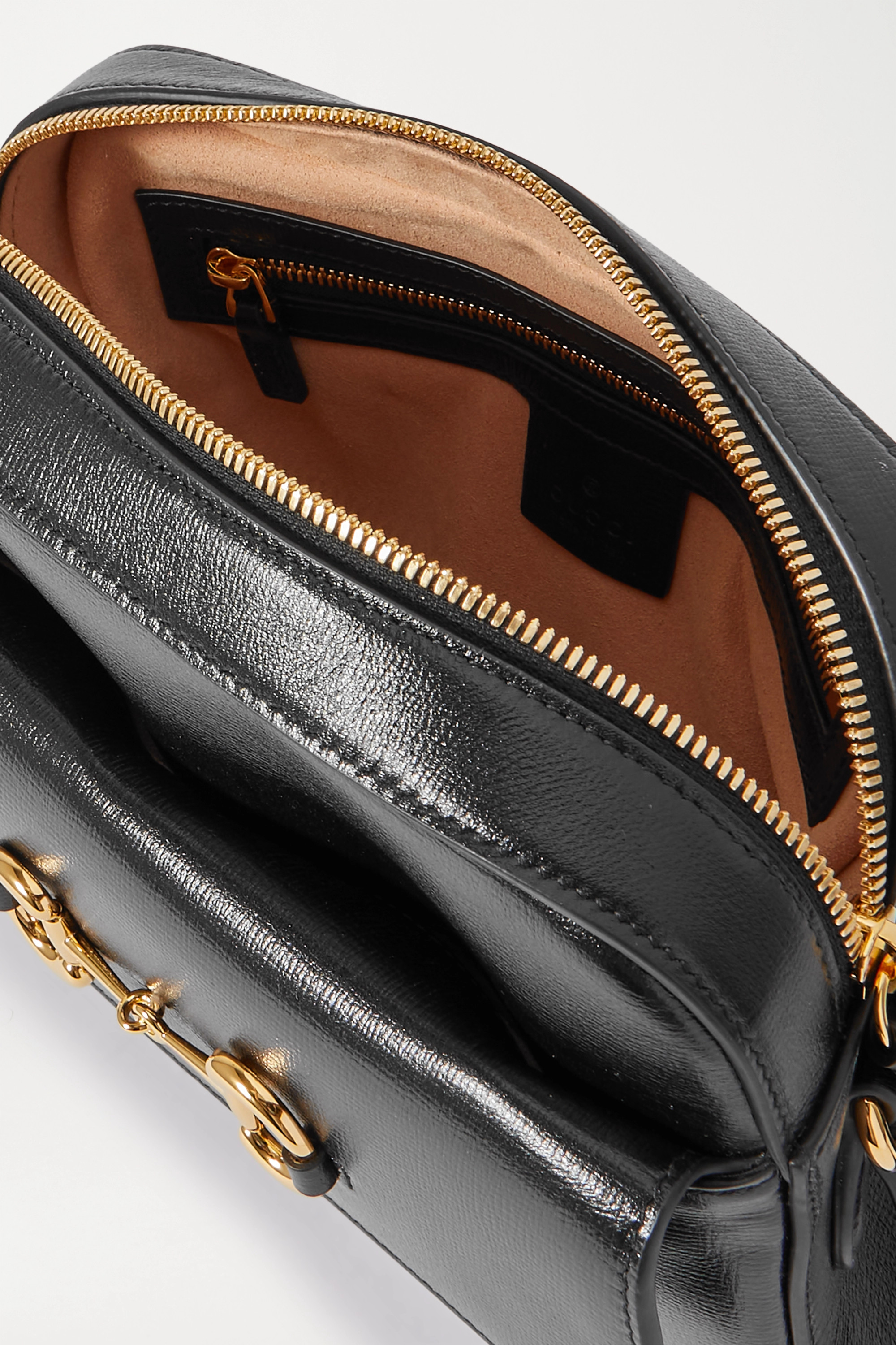 Gucci 1955 small horsebit-detailed textured-leather shoulder bag