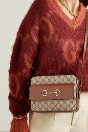 Gucci 1955 small horsebit-detailed leather-trimmed printed coated-canvas shoulder bag