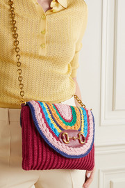 Gucci 1955 Horsebit leather-trimmed crocheted shoulder bag