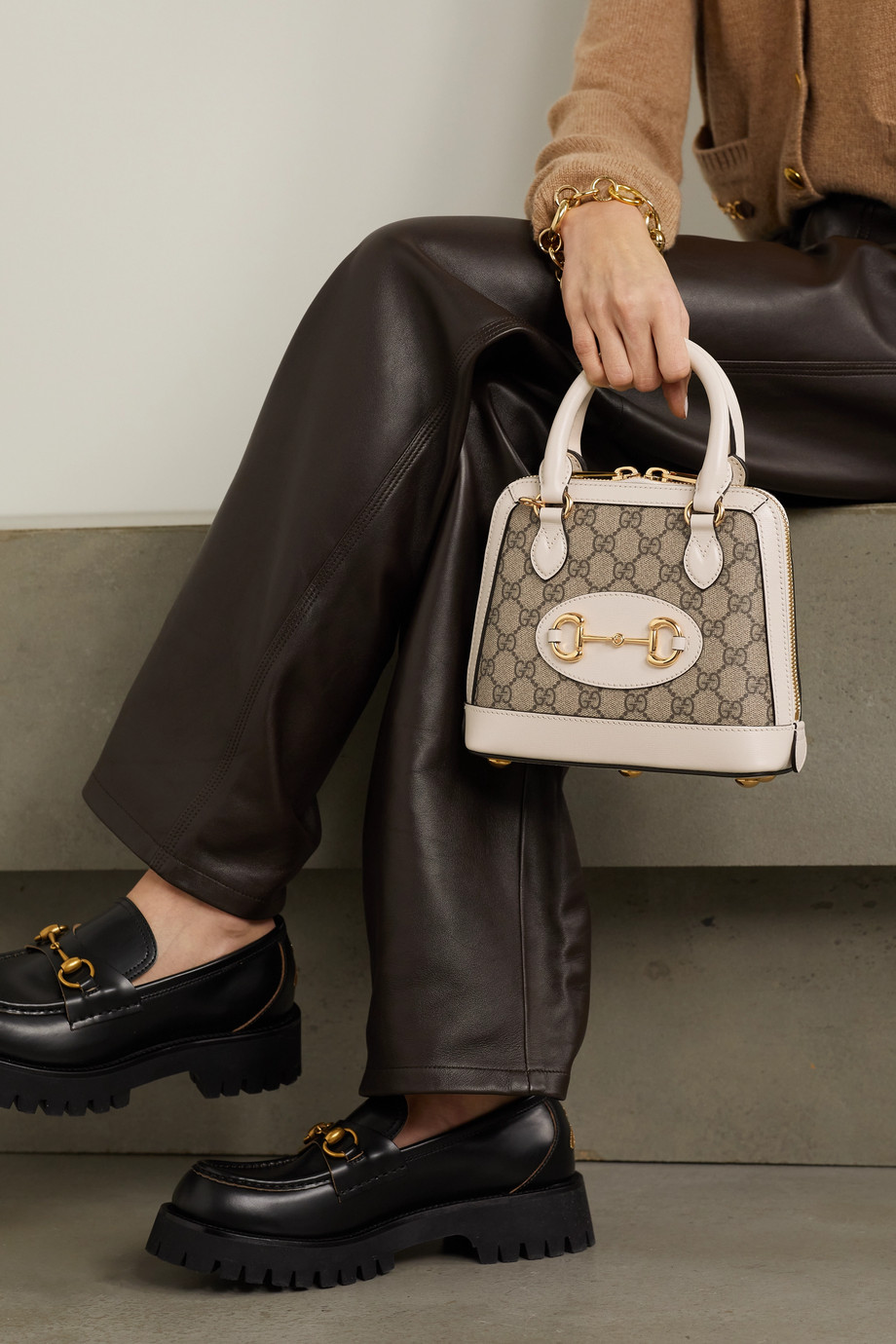 Gucci Sac à main en toile enduite imprimée à finitions en cuir 1955 Horsebit Mini