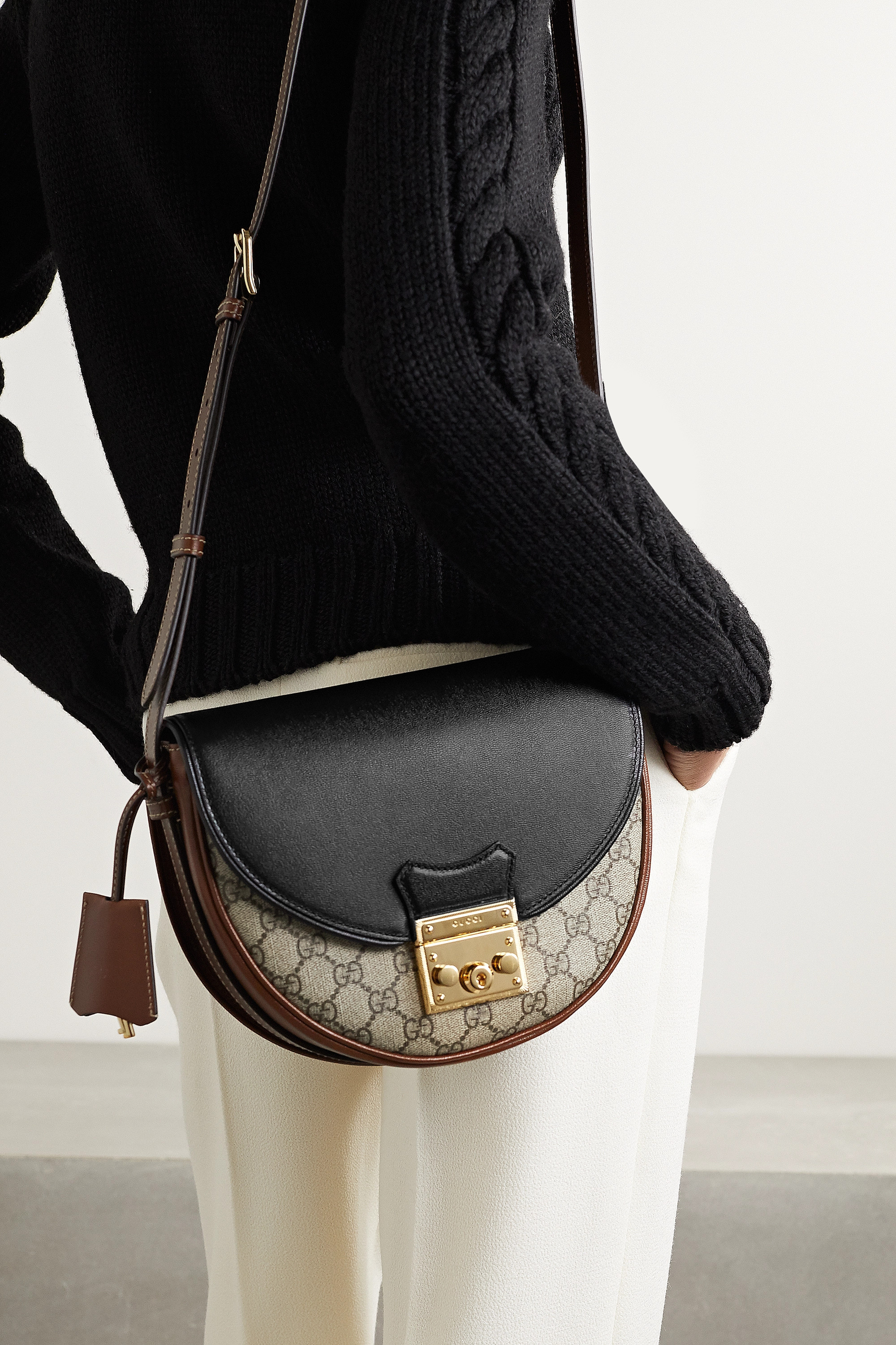 Gucci Padlock small leather-trimmed printed coated-canvas shoulder bag