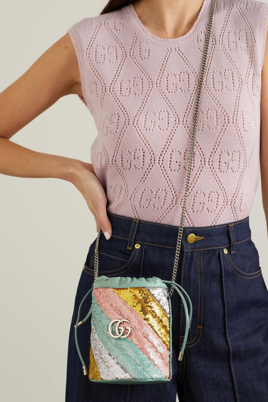 Gucci GG Marmont 绗缝亮片皮革迷你水桶包
