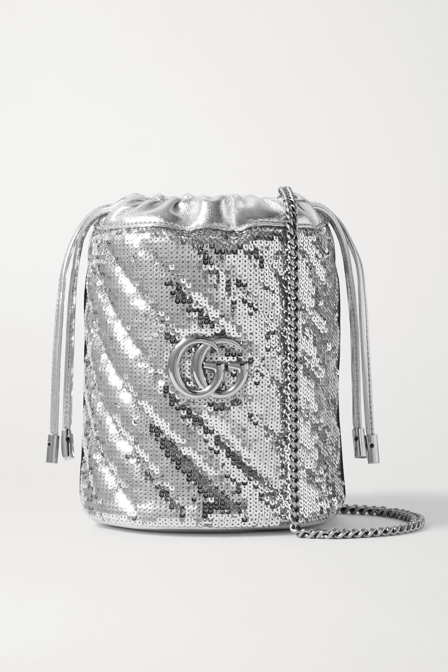 Gucci GG Marmont mini Beuteltasche aus Leder mit Pailletten