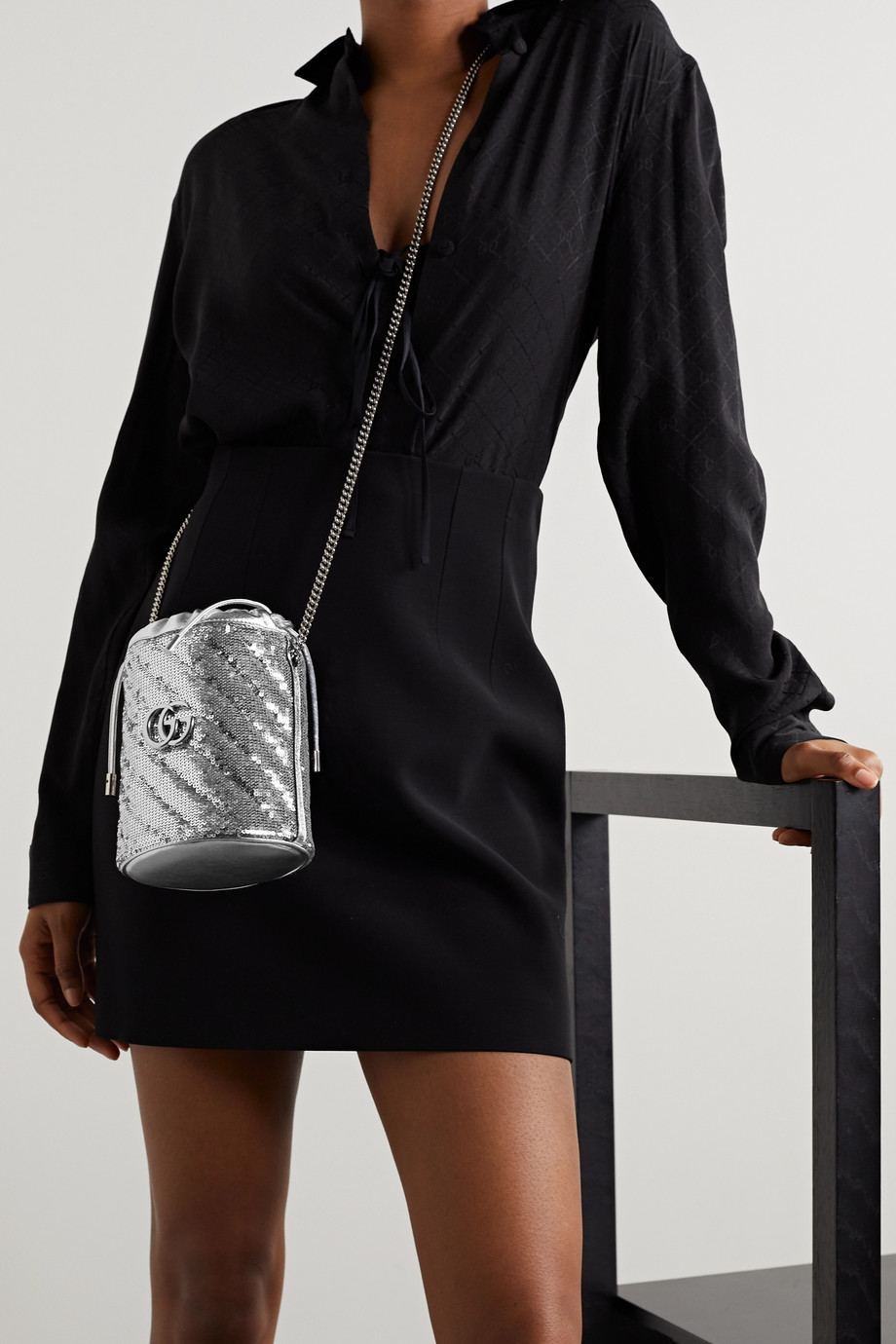 Gucci GG Marmont mini sequined leather bucket bag
