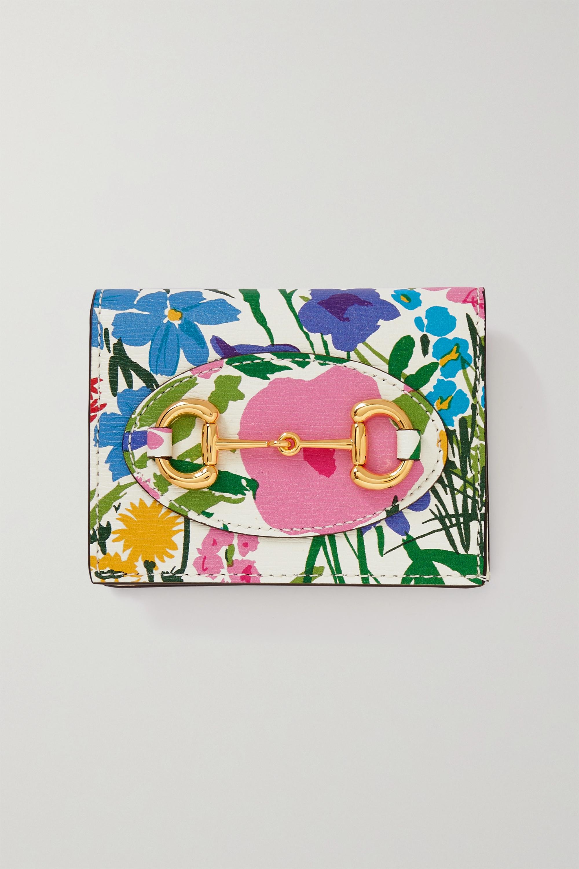 Gucci + Ken Scott Horsebit 1955 Portemonnaie aus strukturiertem Leder mit Blumenprint