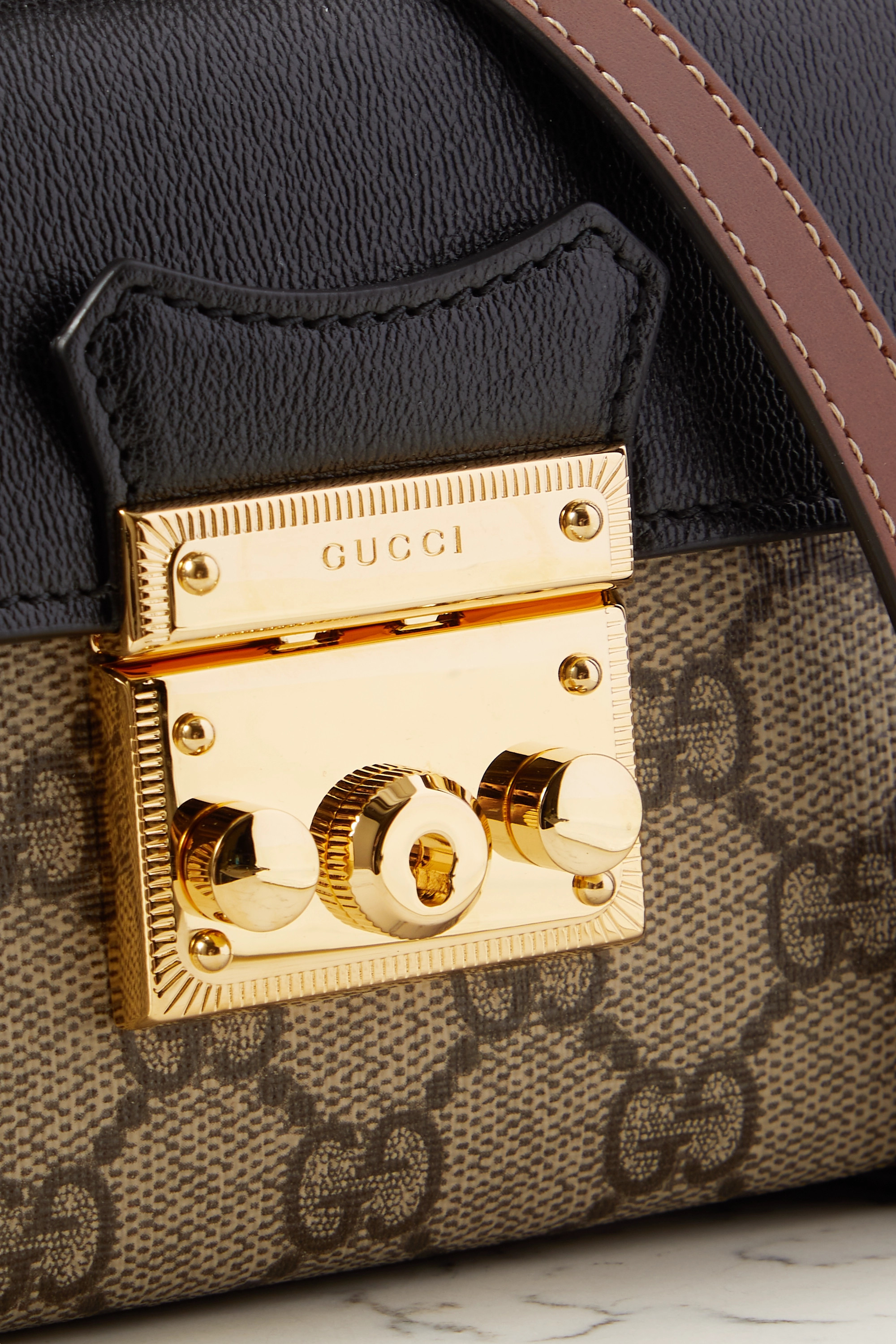 Gucci Padlock leather and printed coated-canvas tote