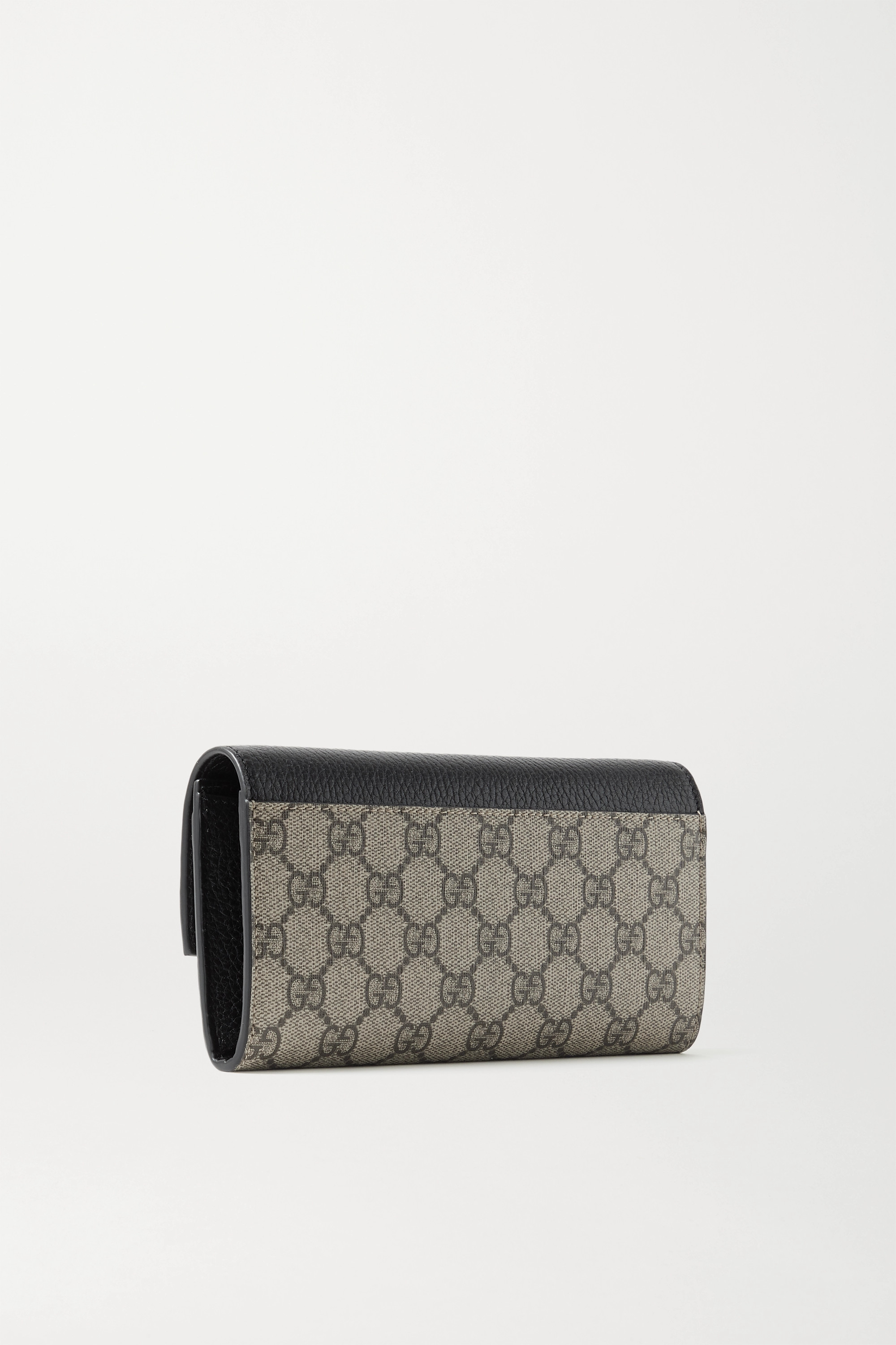 Gucci + NET SUSTAIN GG Marmont Petite textured-leather and printed coated-canvas continental wallet