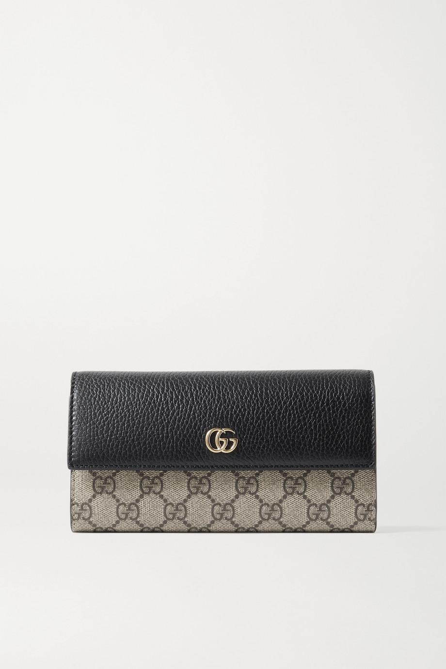 Gucci + NET SUSTAIN GG Marmont Petite Portemonnaie aus strukturiertem Leder und beschichtetem Canvas mit Print