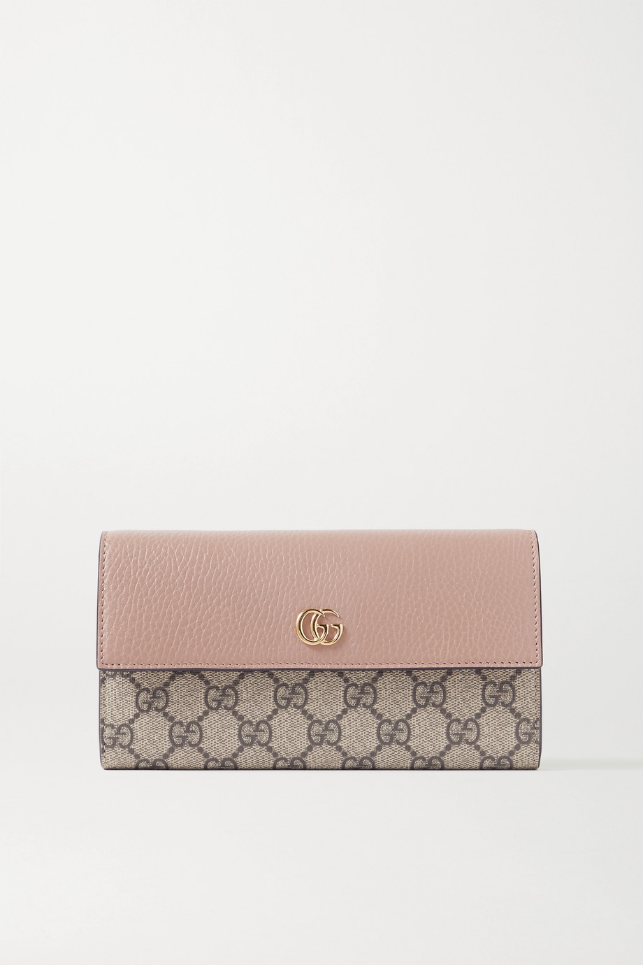 Gucci GG Marmont Petite textured-leather and printed coated-canvas continental wallet
