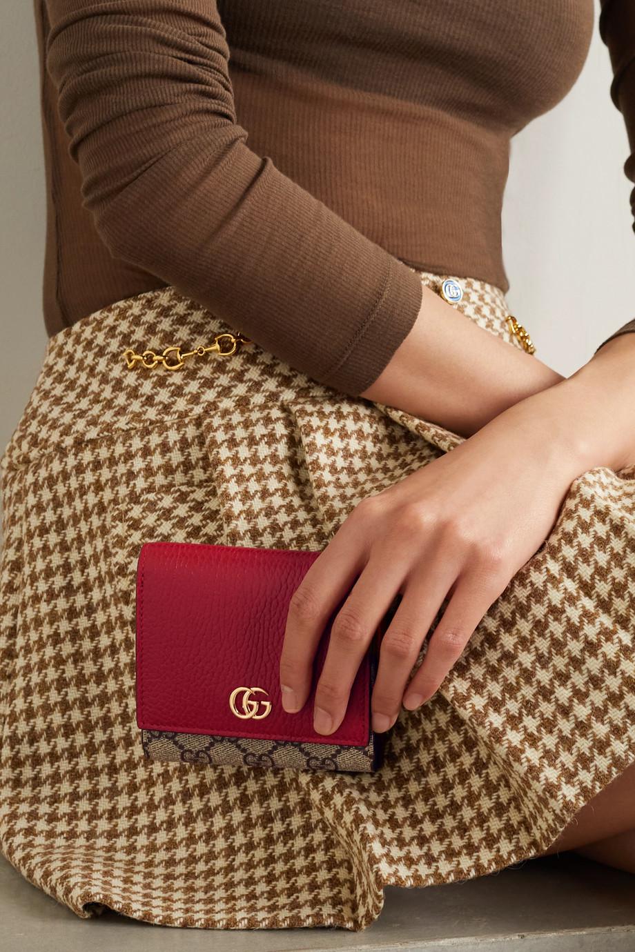 Gucci Portefeuille en toile enduite imprimée et en cuir texturé GG Marmont Petite Medium - NET SUSTAIN
