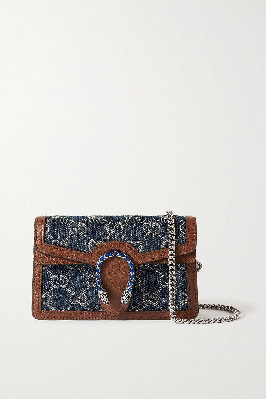 Gucci + NET SUSTAIN Dionysus super mini leather and organic denim-jacquard shoulder bag