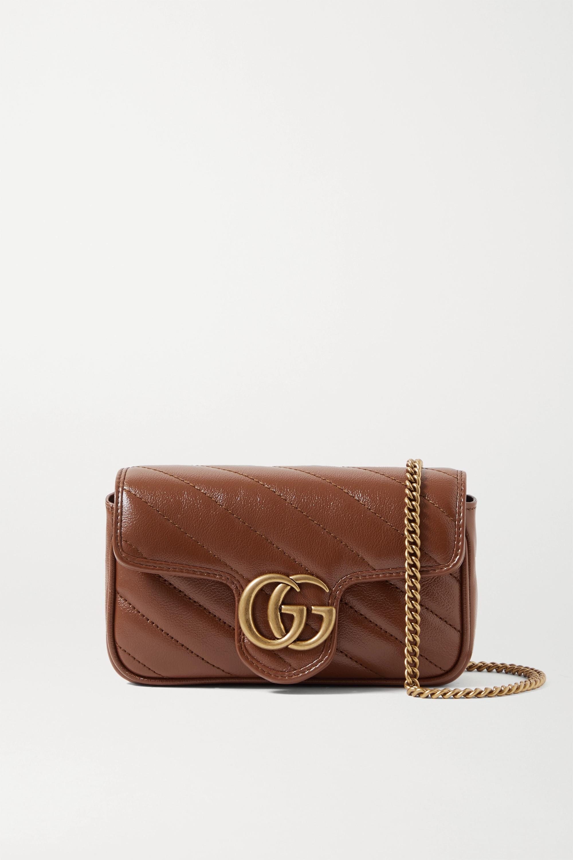 Gucci GG Marmont super mini Schultertasche aus gestepptem Leder