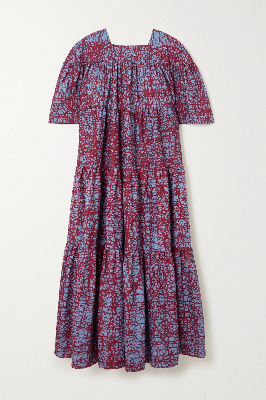 Odile Jacobs Tiered printed waxed-cotton midi dress