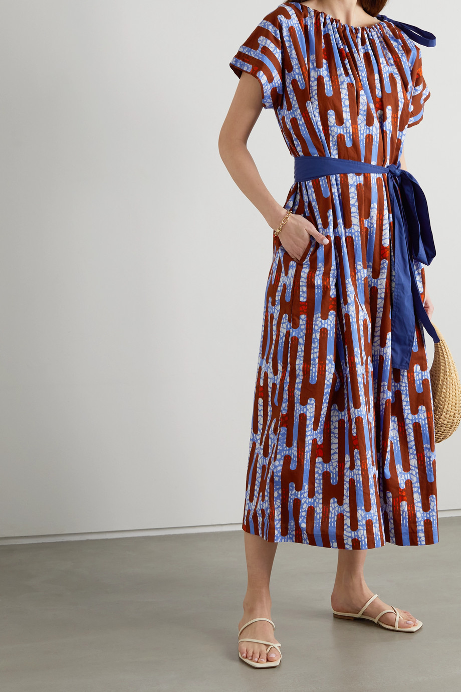 Odile Jacobs Tie-detailed belted printed waxed-cotton midi dress