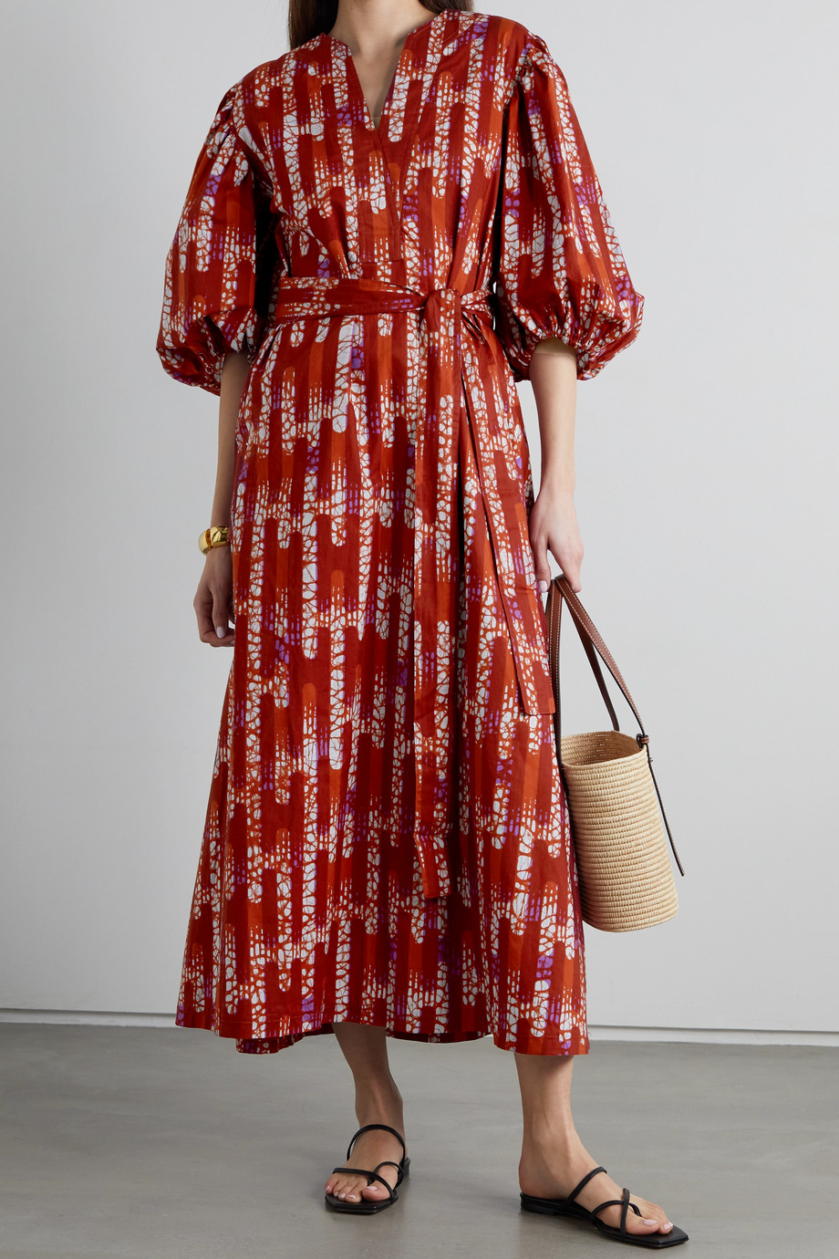 Odile Jacobs Belted printed waxed-cotton maxi dress