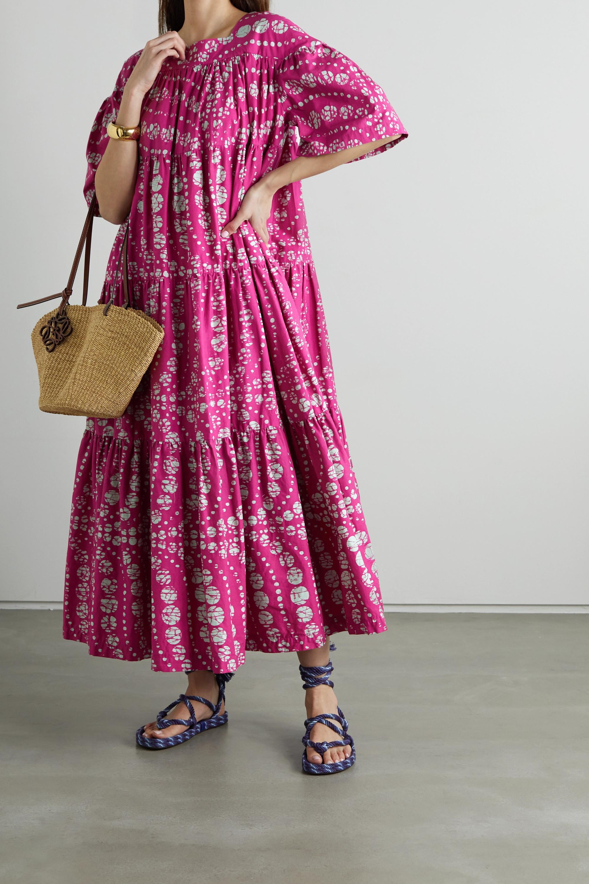 Odile Jacobs Maxikleid aus Baumwolle mit Wachsdruck