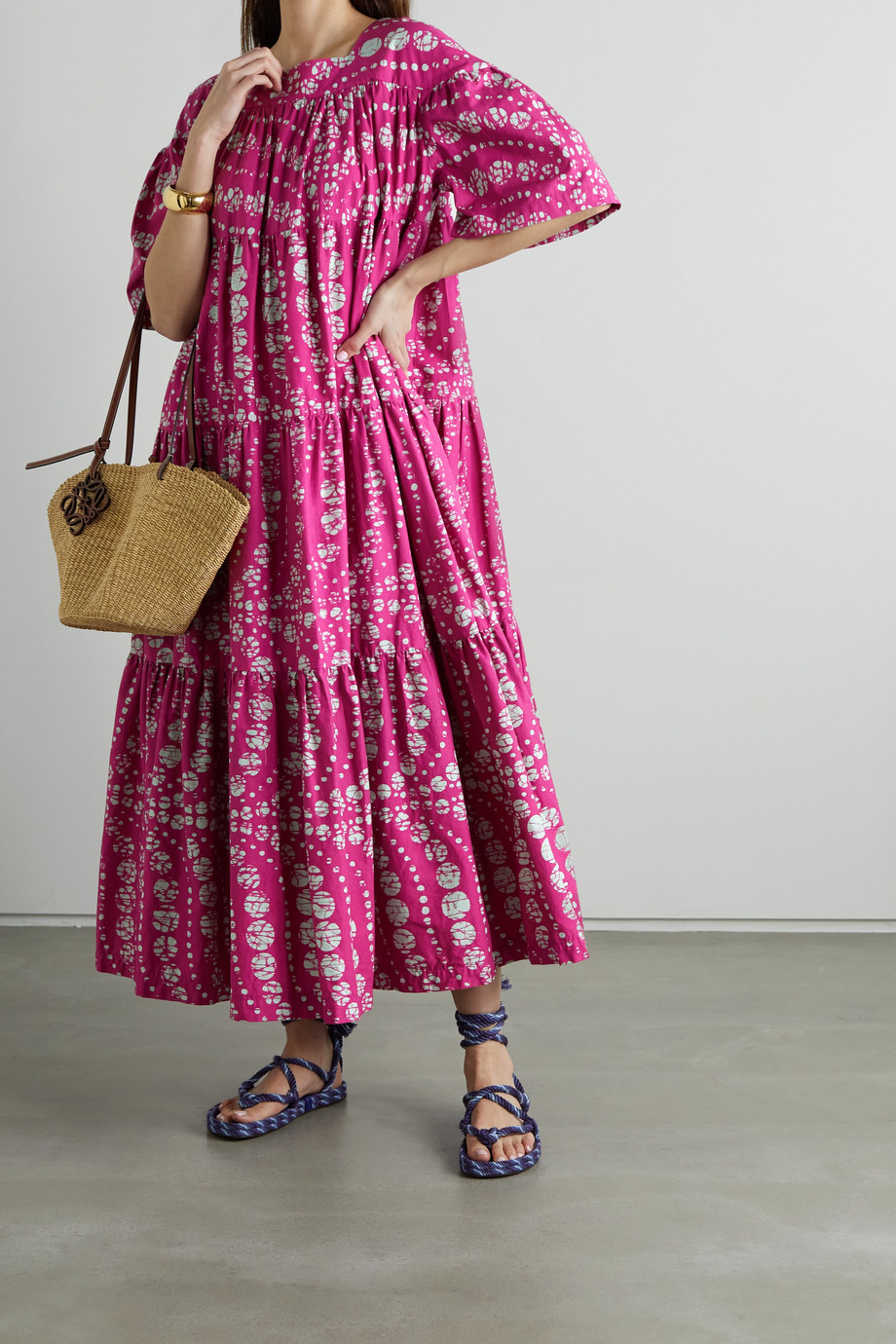 Odile Jacobs Tiered printed waxed-cotton maxi dress