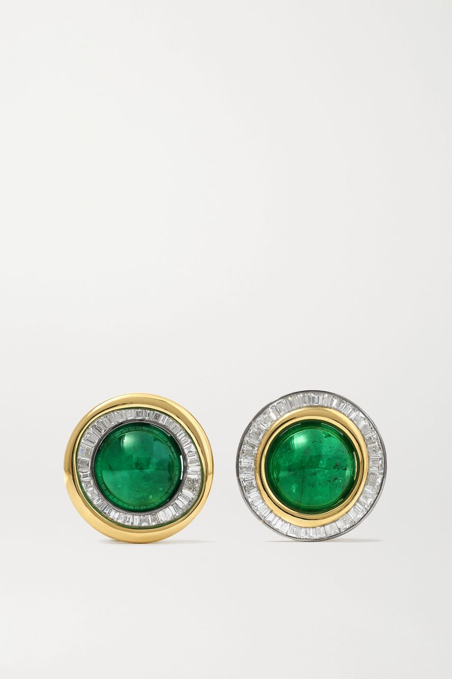 Jessica McCormack Eclipse 18-karat yellow and blackened white gold, emerald and diamond earrings