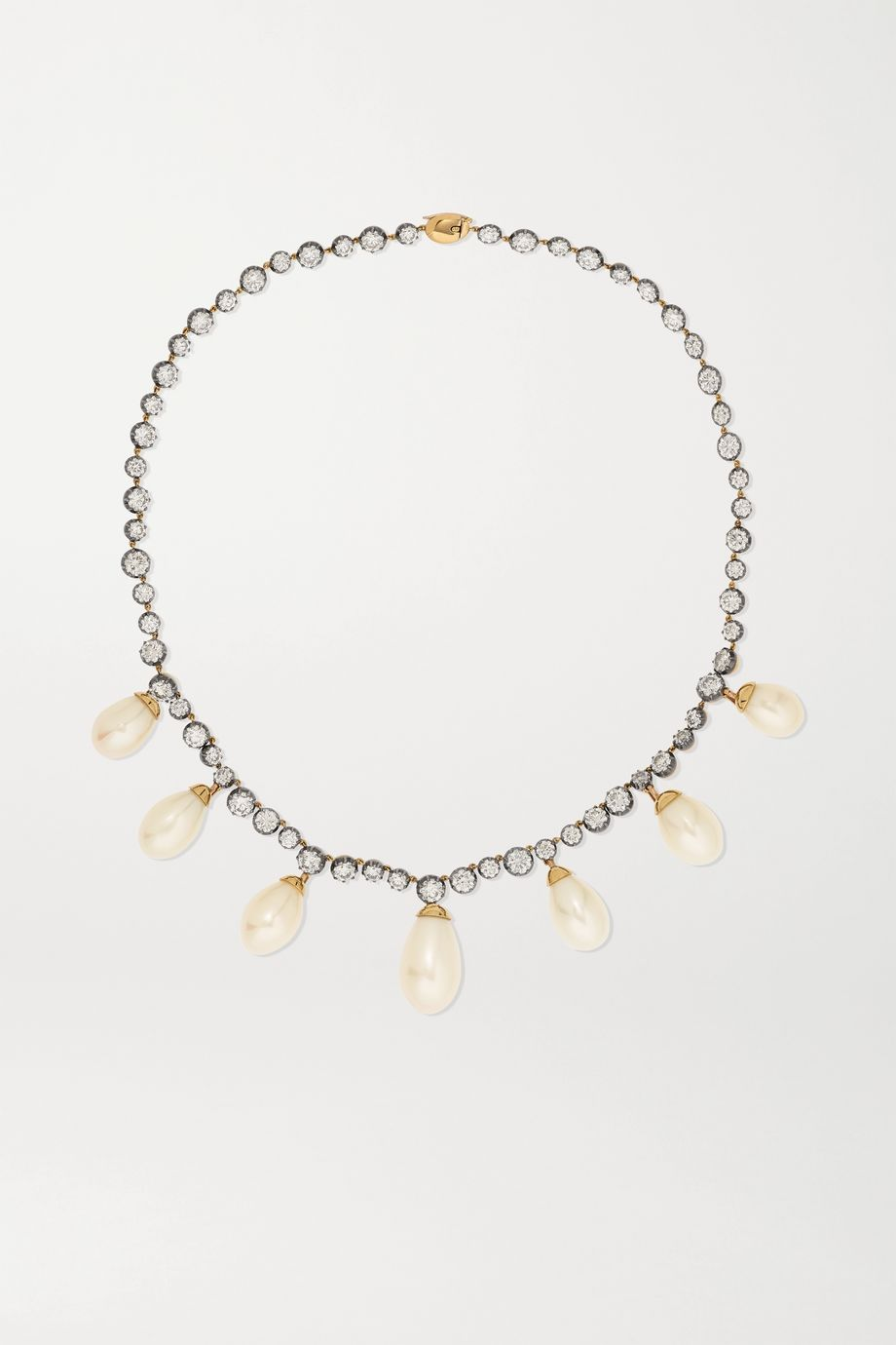 Jessica McCormack + Emilia Wickstead 18-karat yellow and blackened white gold, pearl and diamond necklace