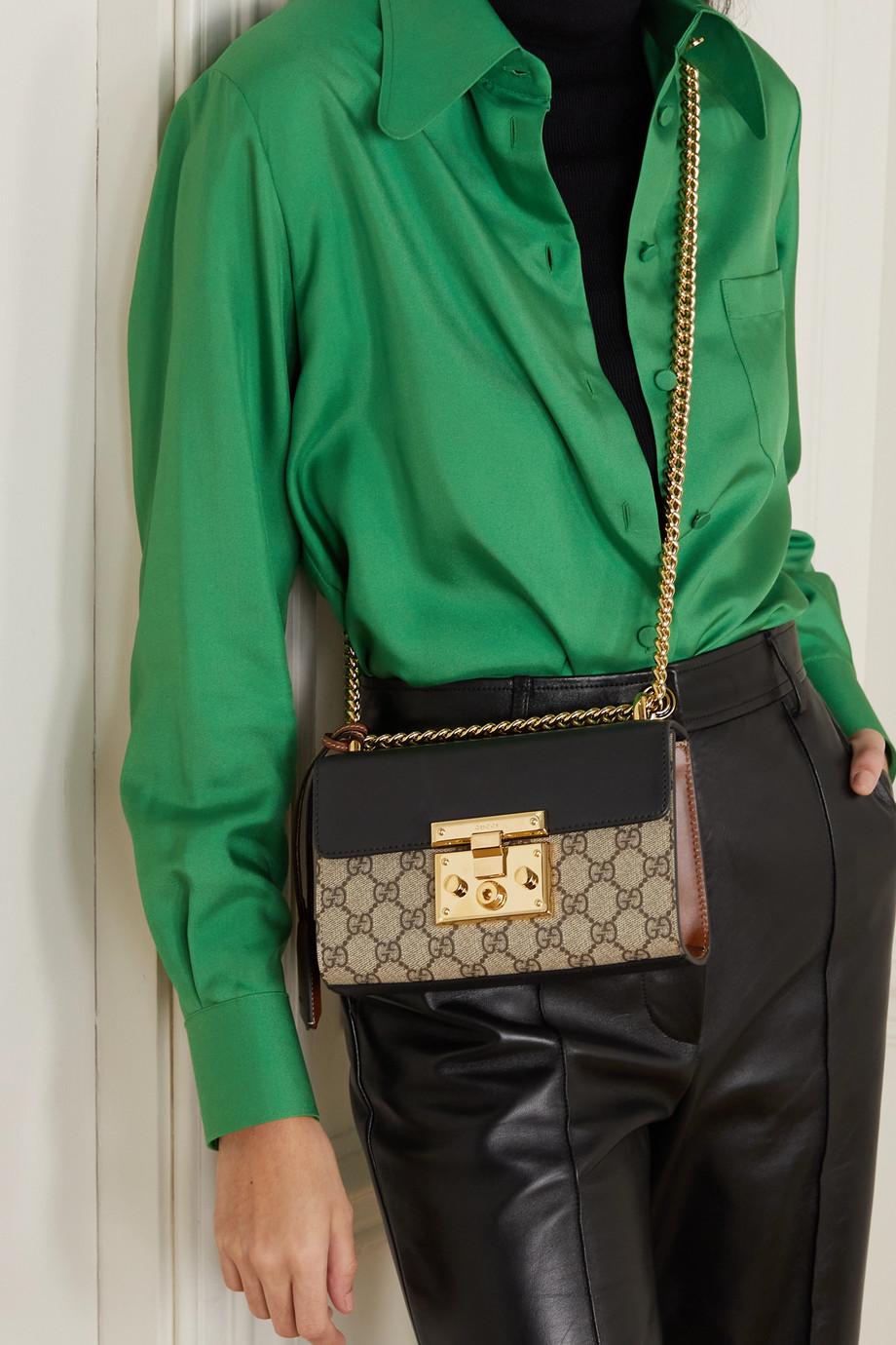 Gucci Padlock 皮革印花涂层帆布单肩包