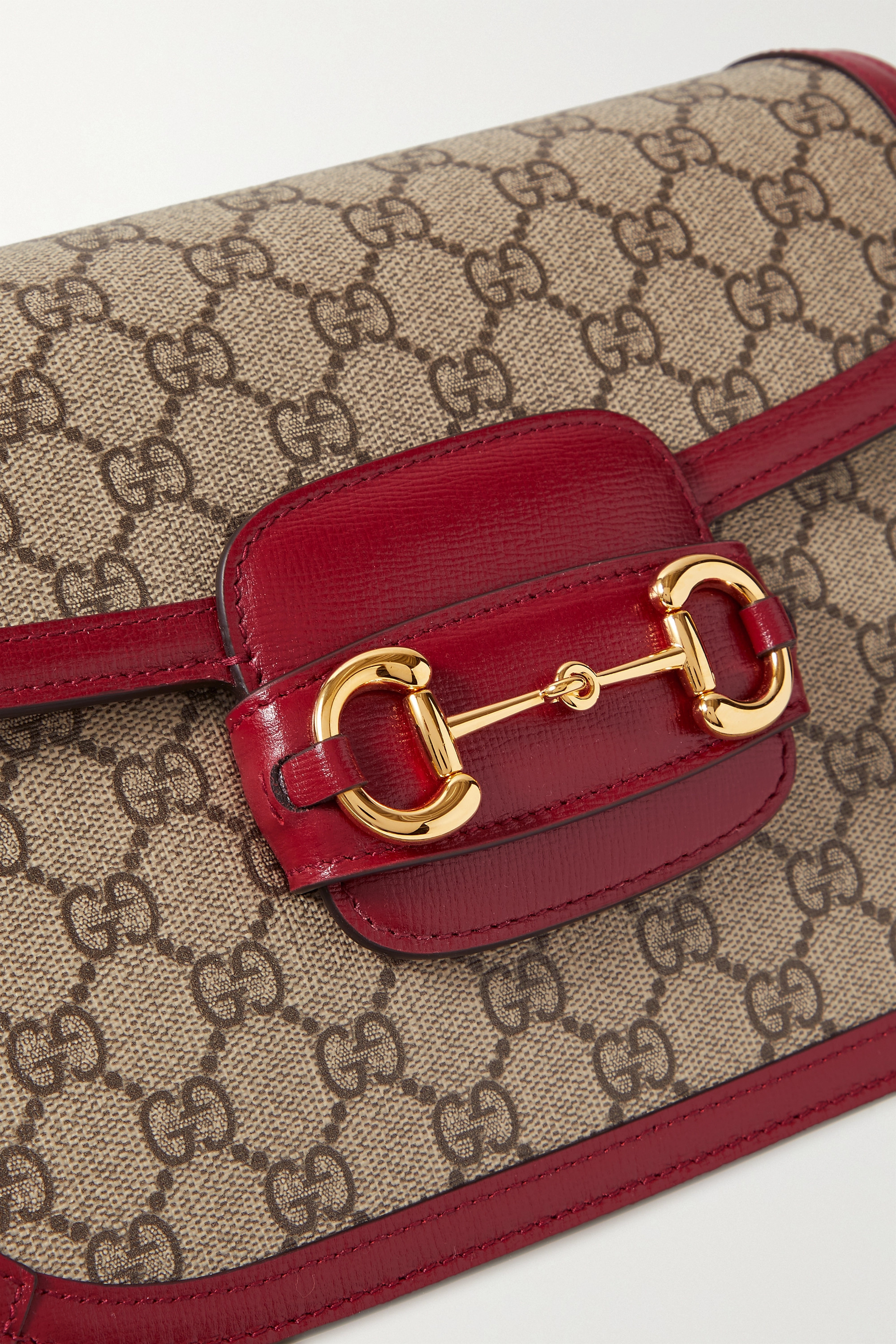 Gucci 1955 horsebit-detailed leather-trimmed printed coated-canvas shoulder bag