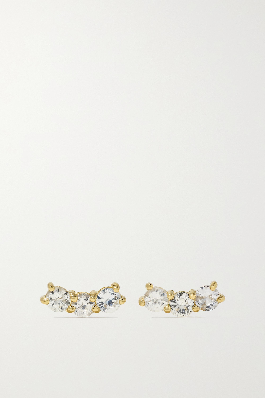 STONE AND STRAND Shimmer Curve Ohrringe aus Gold mit Saphiren