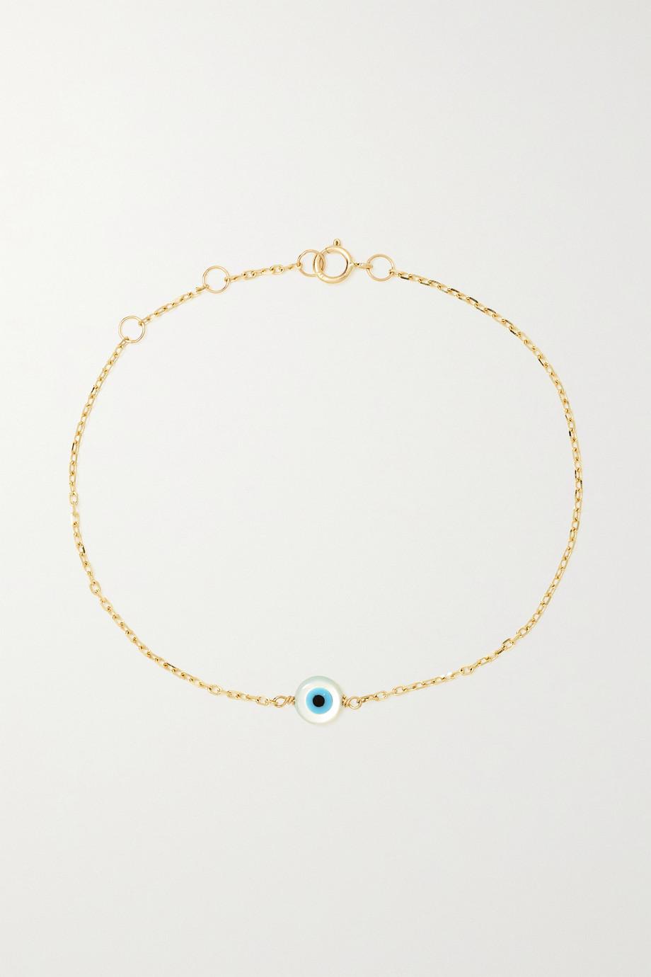 STONE AND STRAND Armband aus Gold mit Perlmutt und Emaille