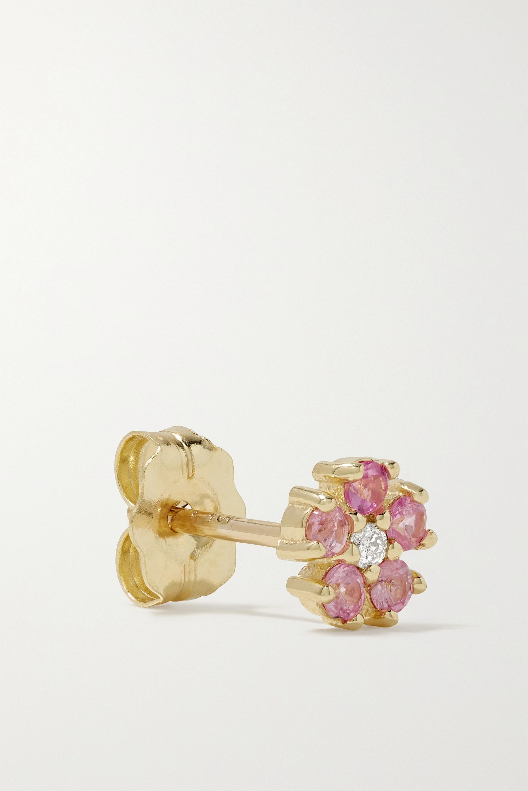 STONE AND STRAND Ohrring aus Gold mit Saphiren und Diamant
