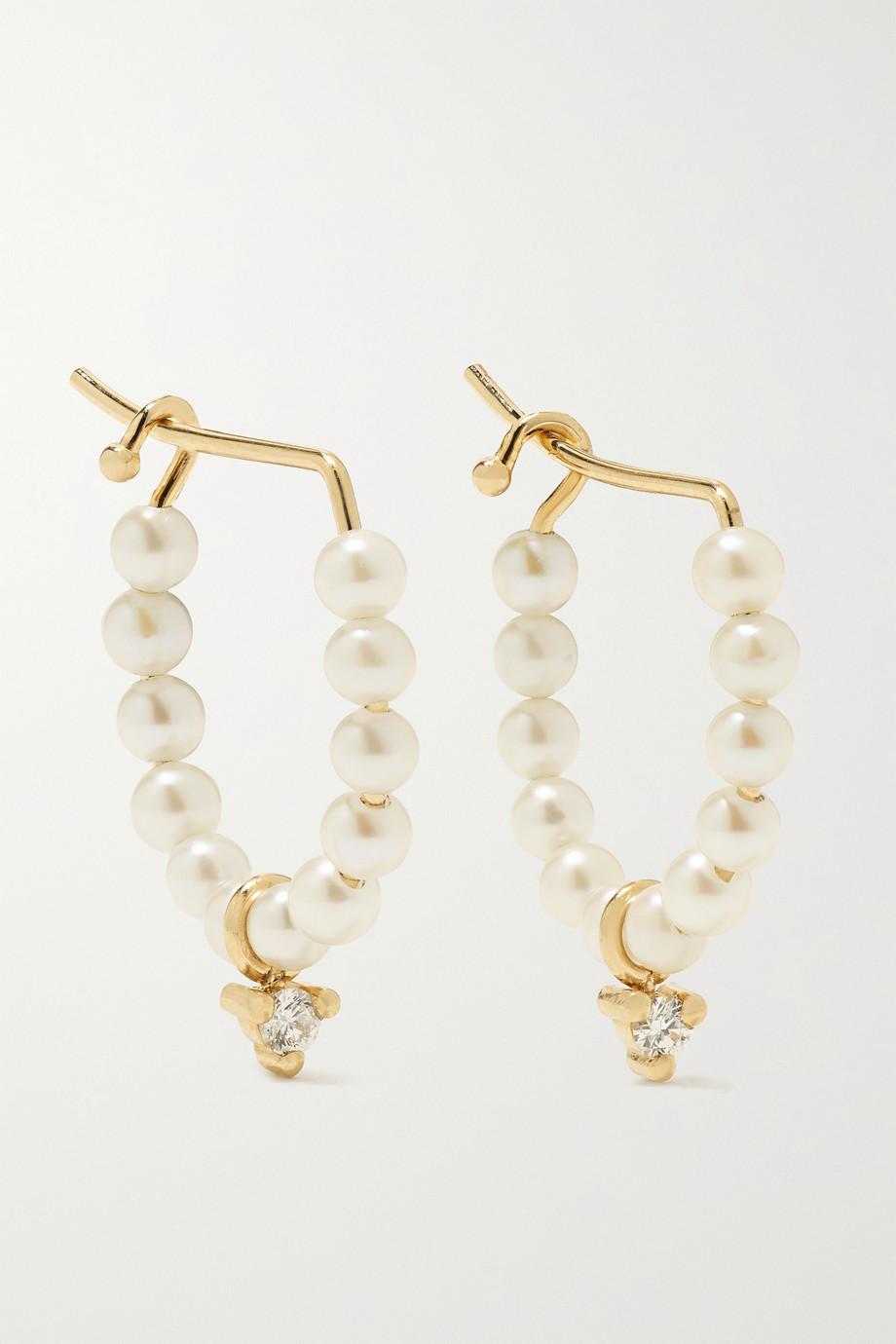 Mizuki 14-karat gold, pearl and diamond hoop earrings