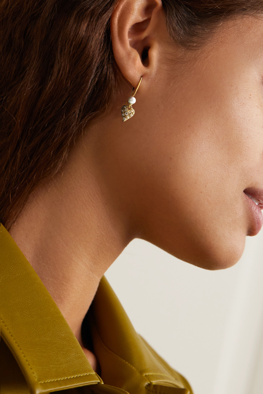 Mizuki 14-karat gold, pearl and diamond earrings