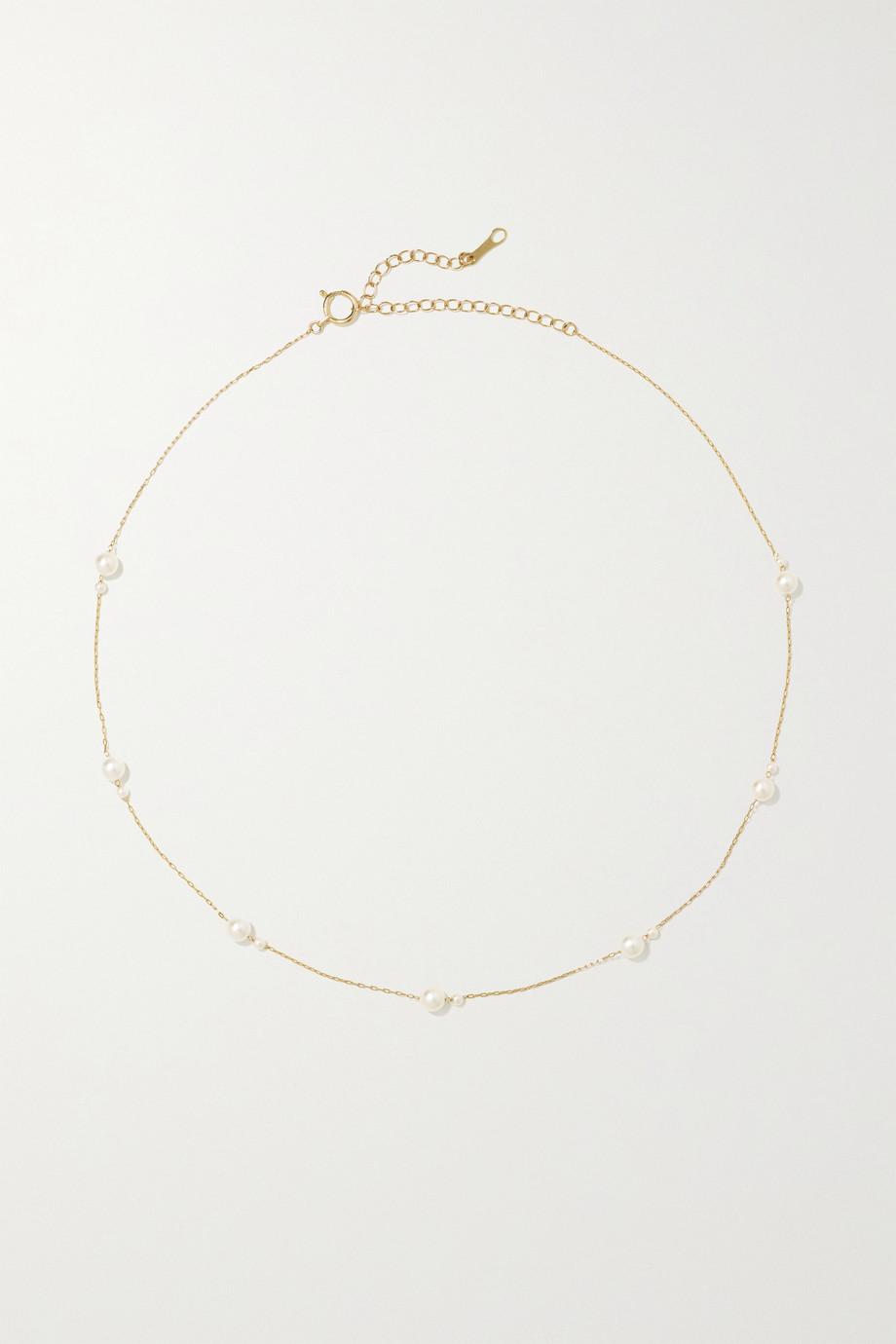 Mizuki Kette aus 14 Karat Gold mit Perlen