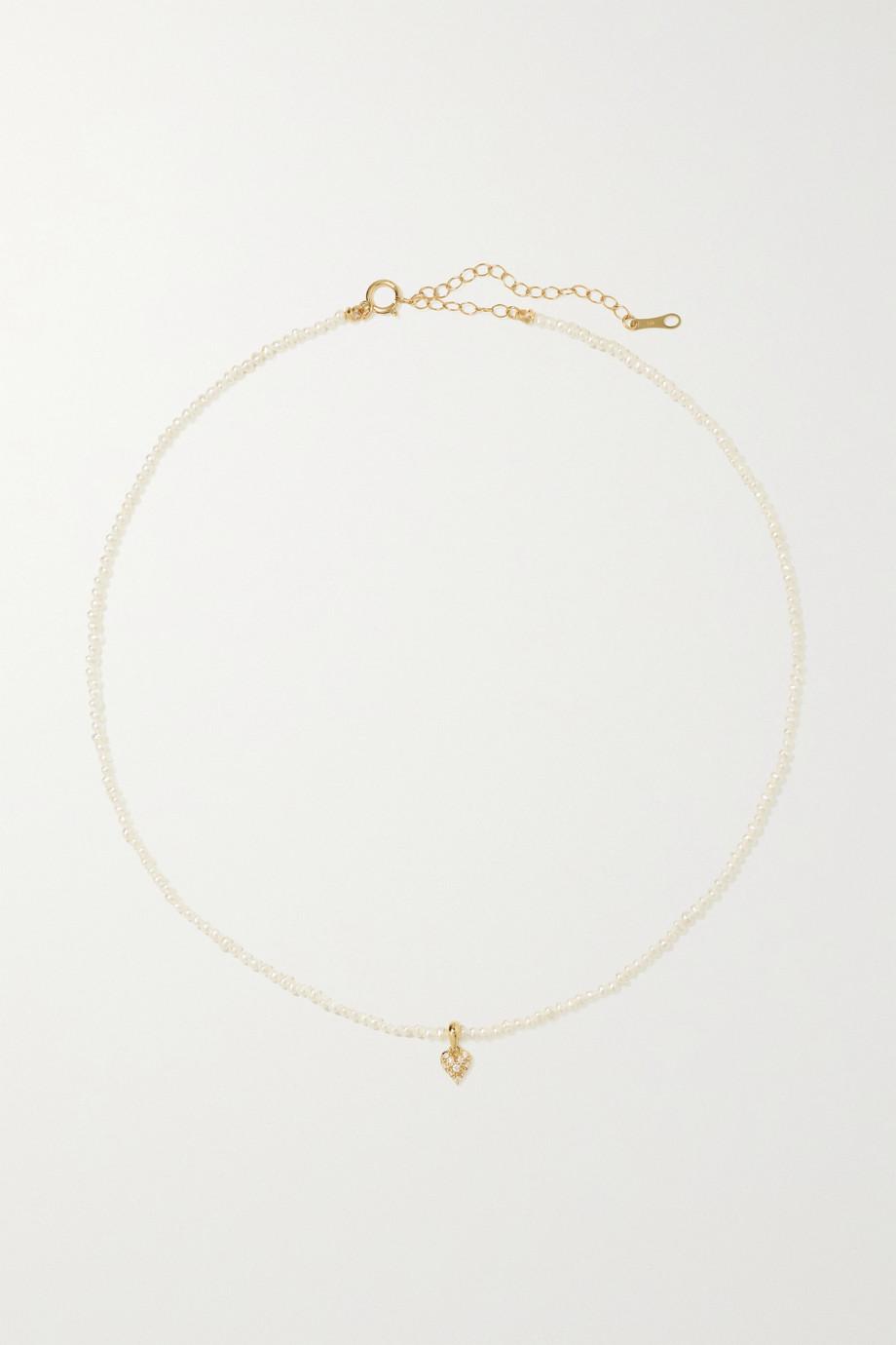 Mizuki Perlenkette mit Details aus 14 Karat Gold und Diamanten
