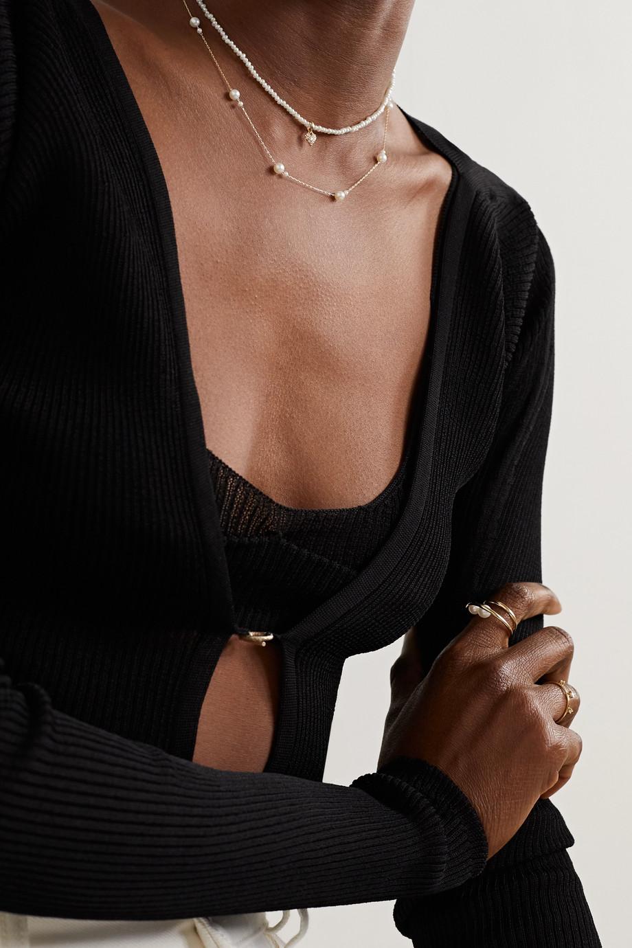 Mizuki Collier en or 14 carats, perles et diamants