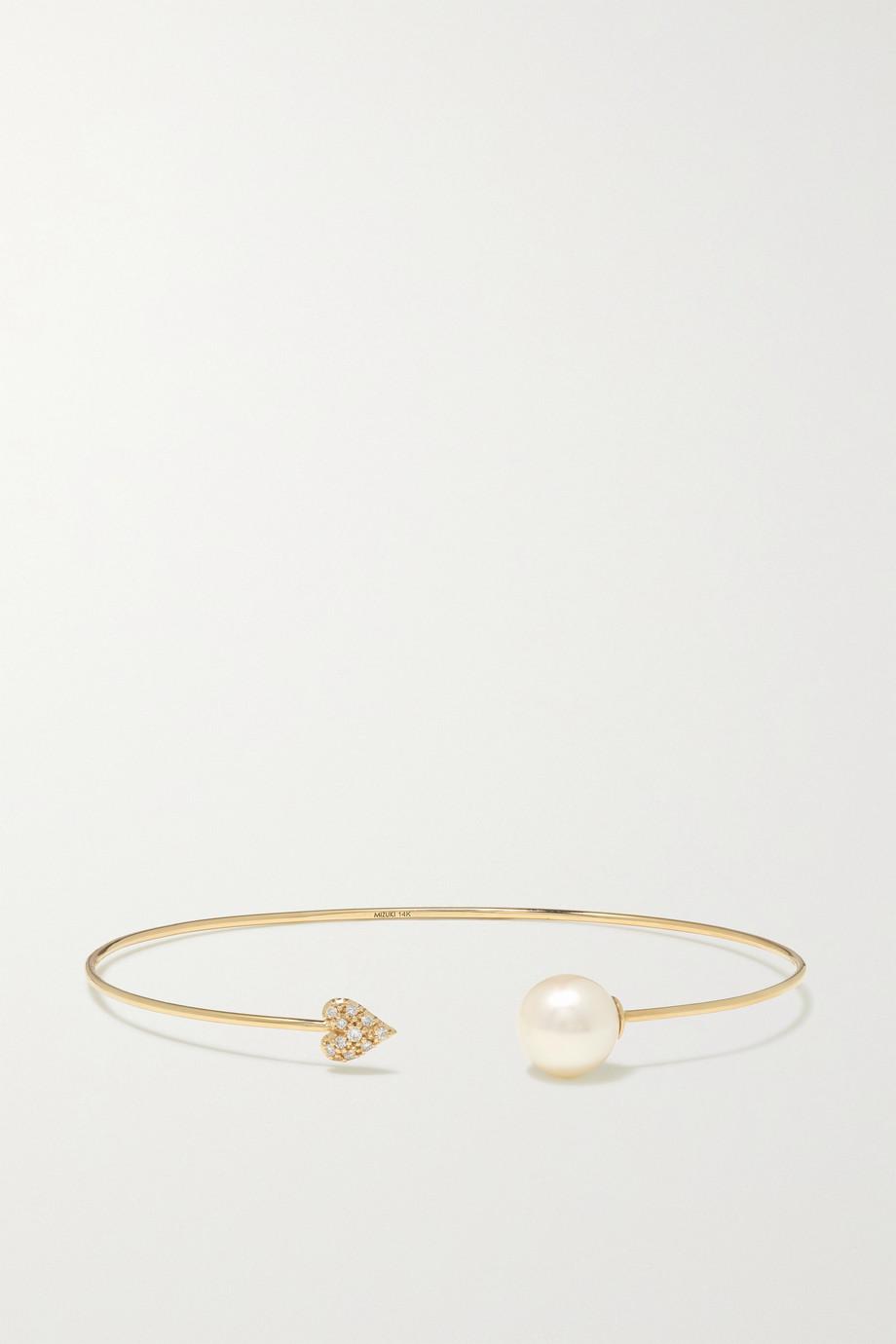 Mizuki 14-karat gold, pearl and diamond cuff
