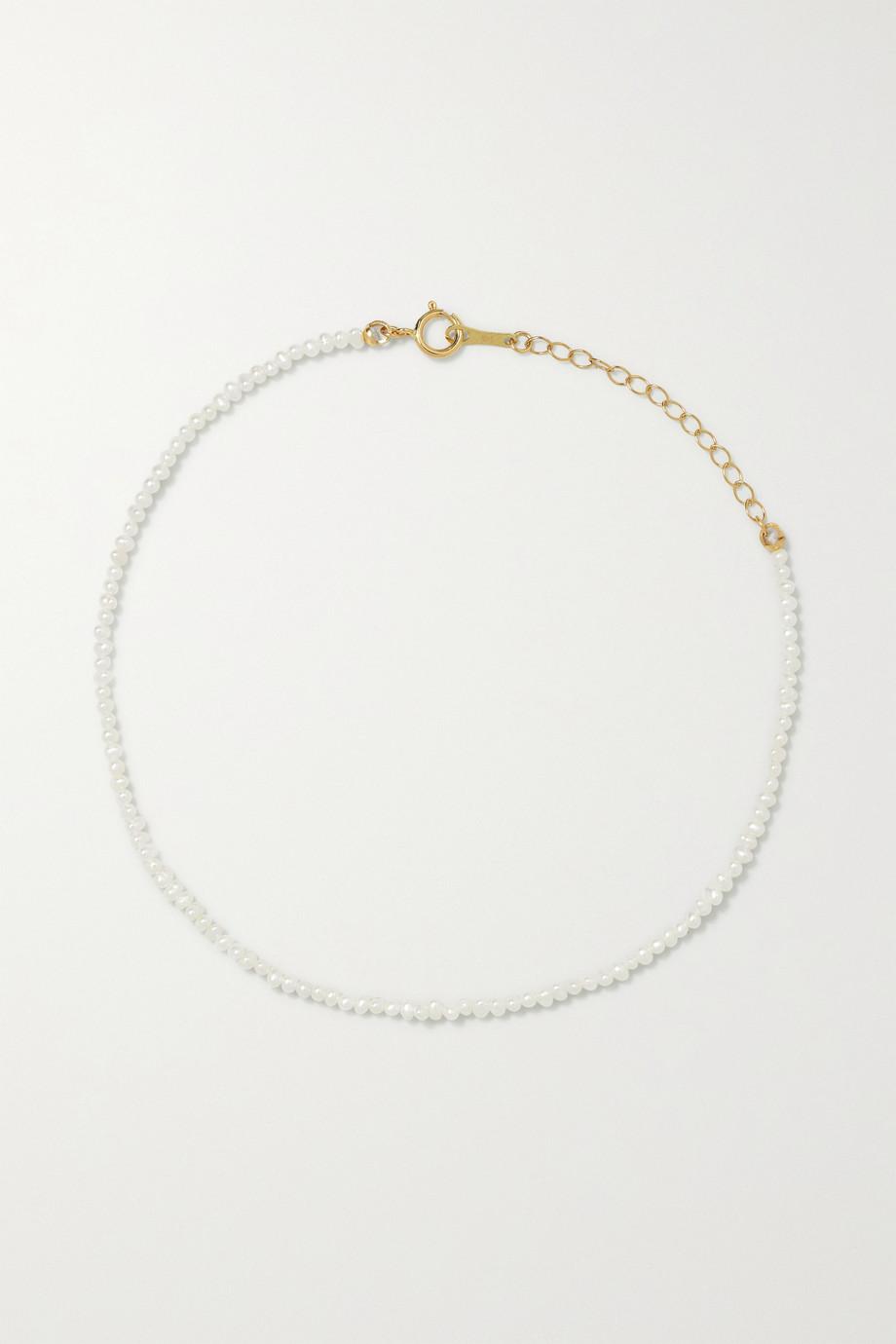 Mizuki 14-karat gold pearl anklet