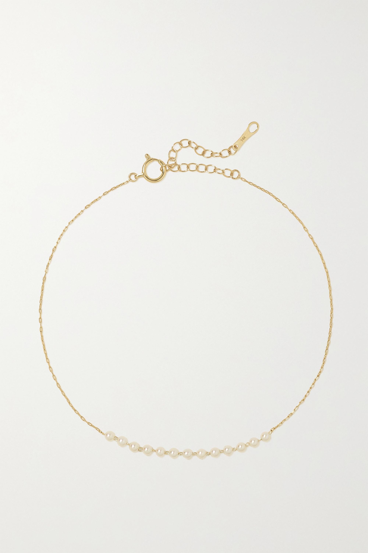 Mizuki Fußkettchen aus 14 Karat Gold mit Perlen