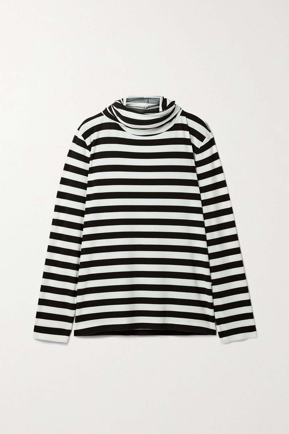 Norma Kamali Striped stretch-jersey turtleneck top