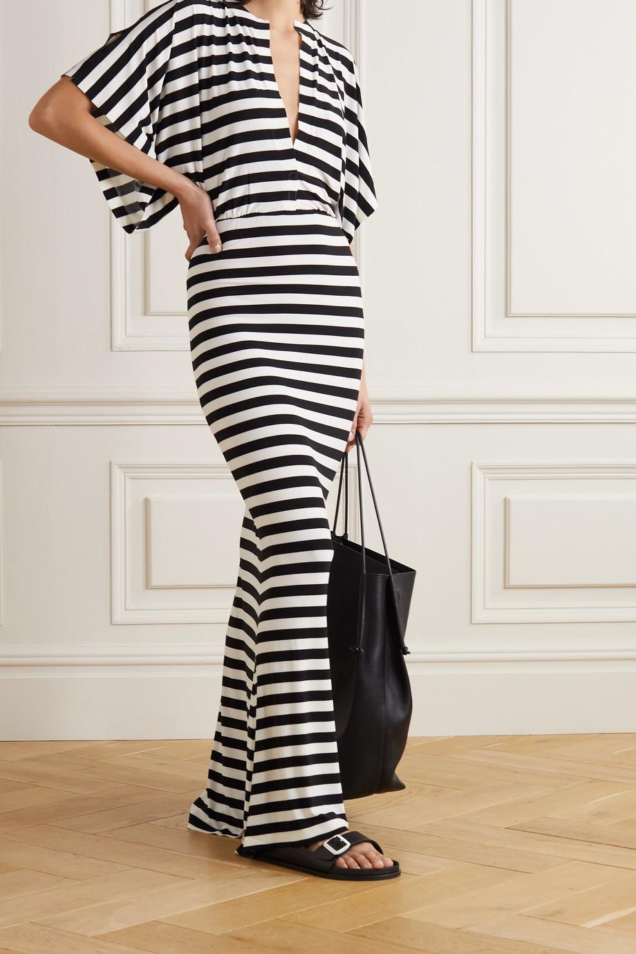 Norma Kamali Obie striped stretch-jersey maxi dress