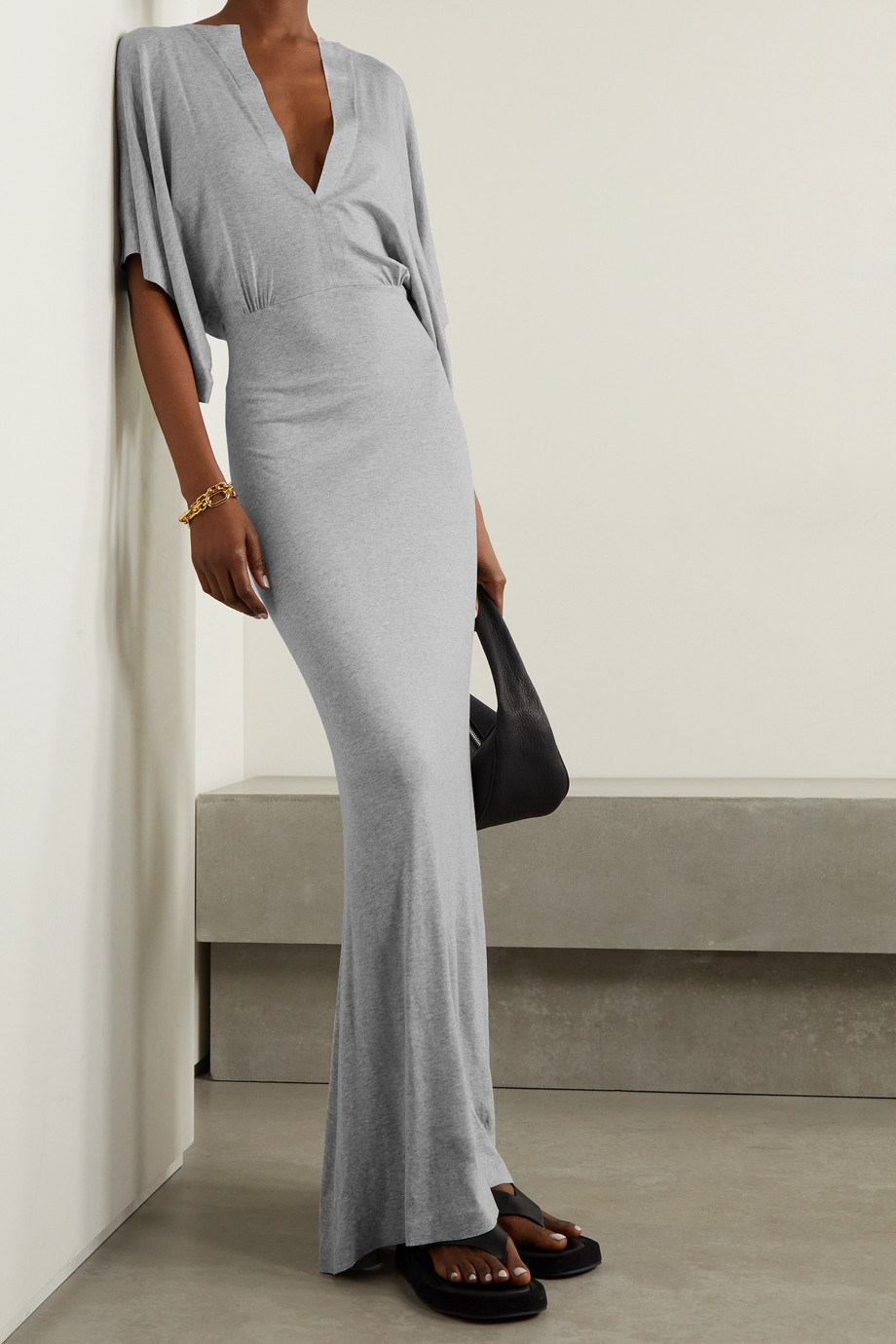 Norma Kamali Obie mélange stretch-modal jersey maxi dress