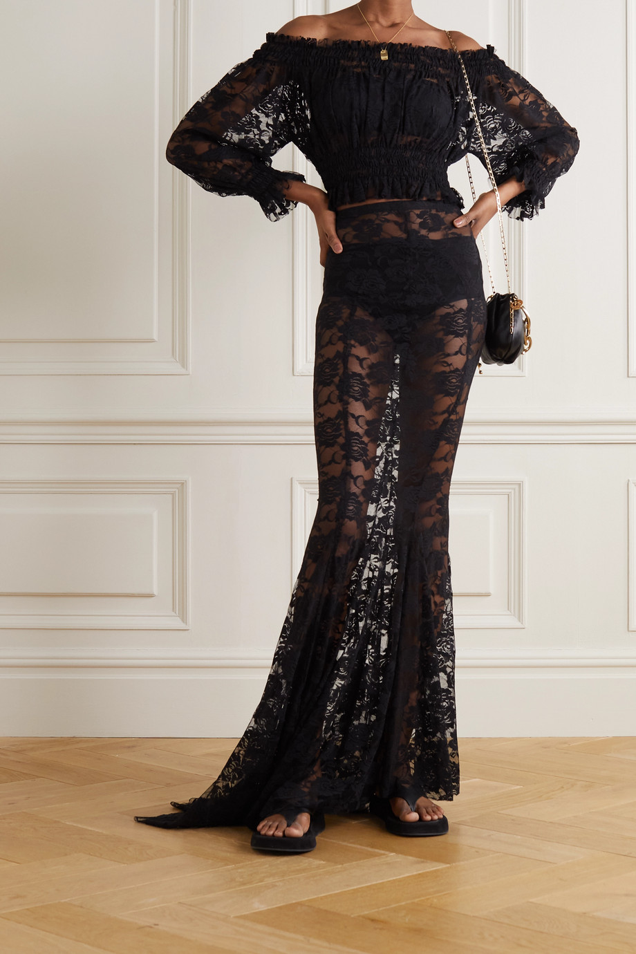 Norma Kamali Lace maxi skirt