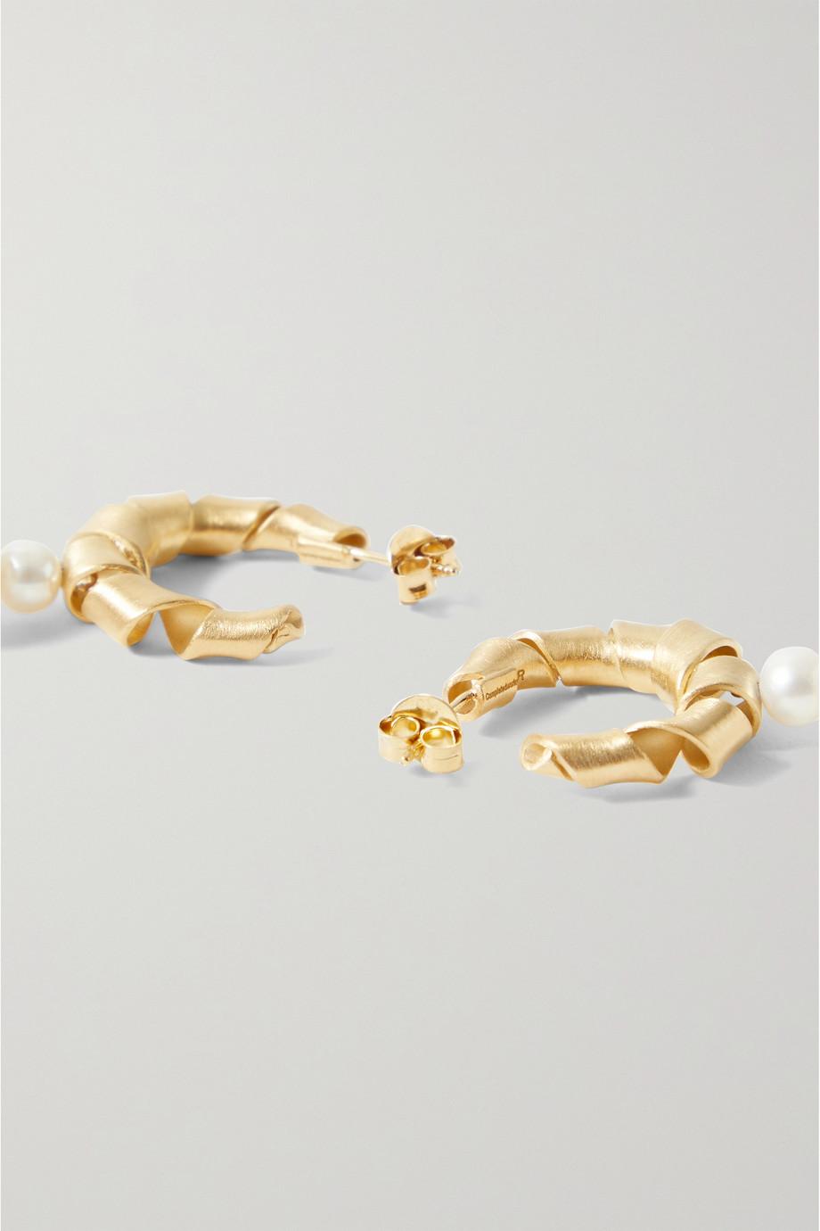 Completedworks Wibble, Wobble gold-plated pearl hoop earrings