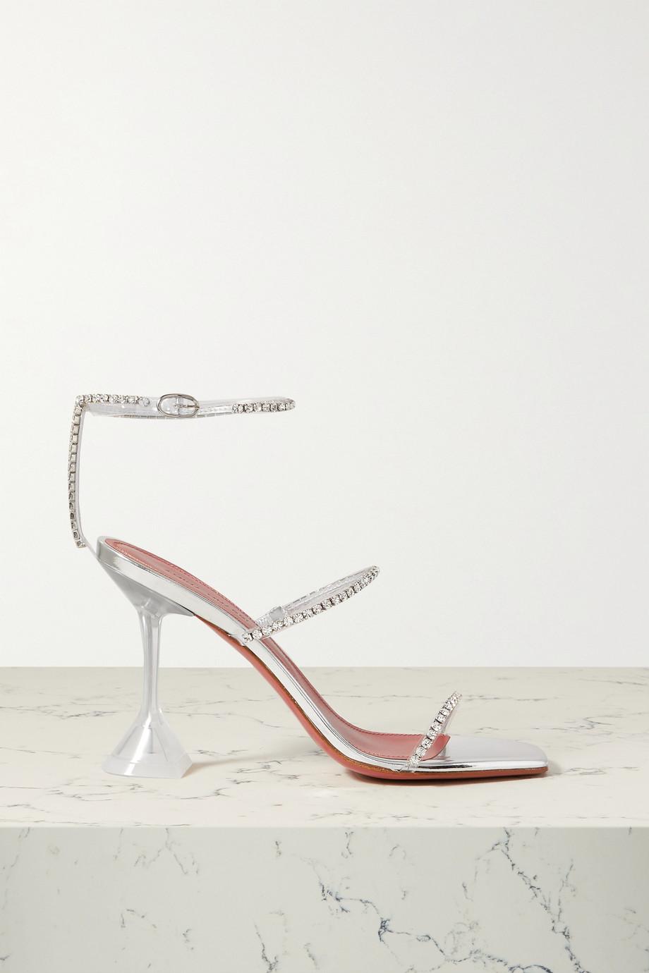 Amina Muaddi Sandales en PVC et en cuir à cristaux Gilda Glass