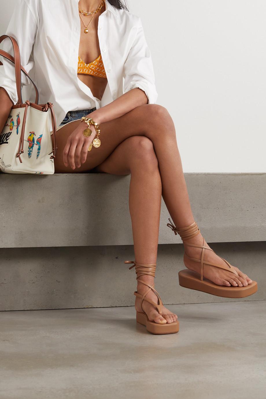 Amina Muaddi Jamie leather platform sandals