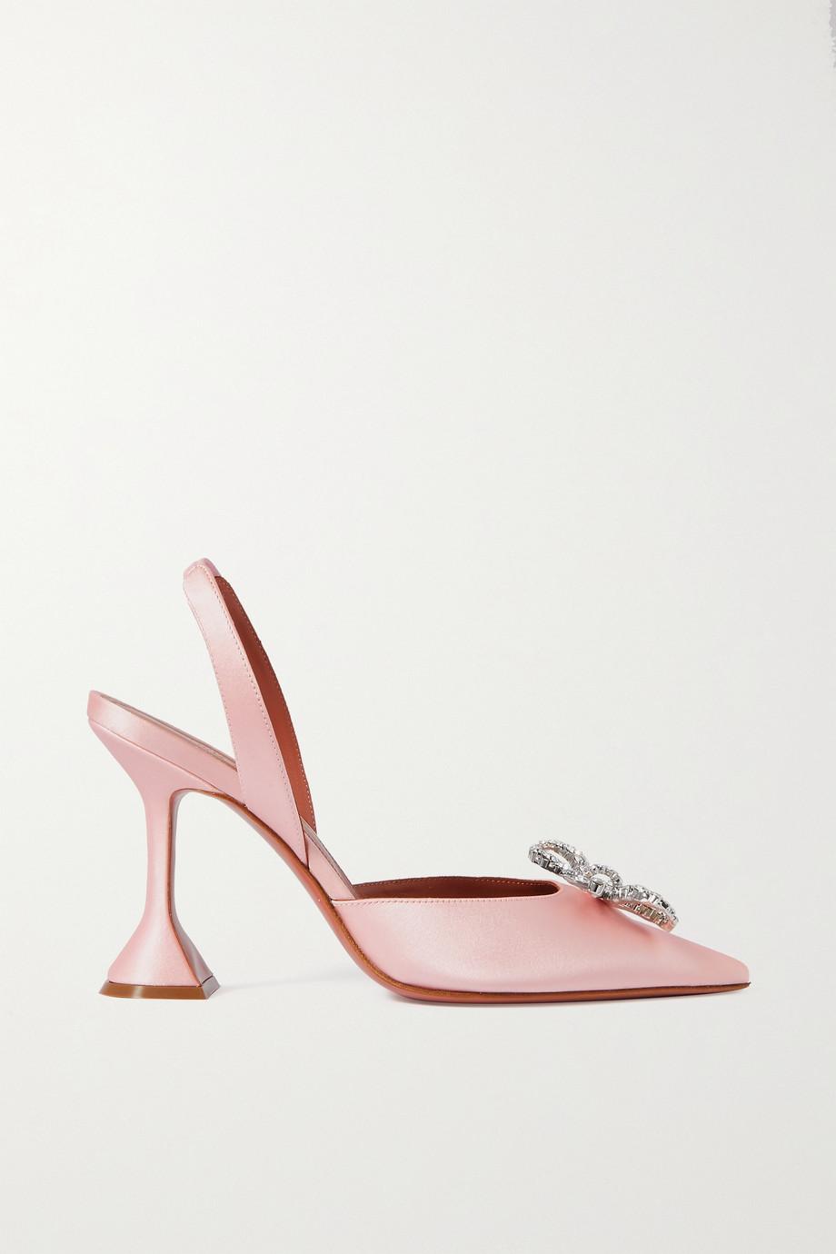 Amina Muaddi Rosie crystal-embellished satin slingback pumps