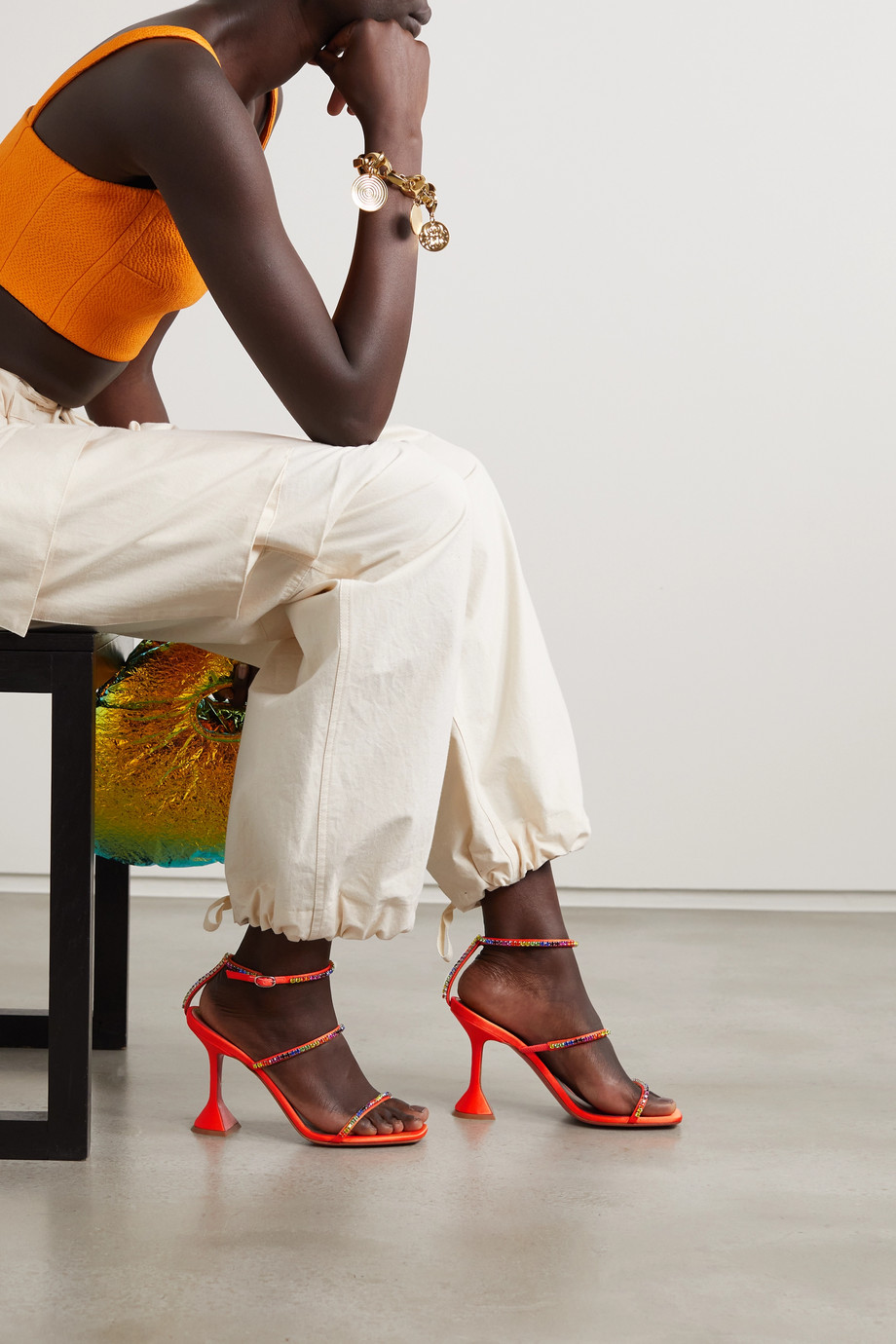 Amina Muaddi Gilda crystal-embellished satin sandals