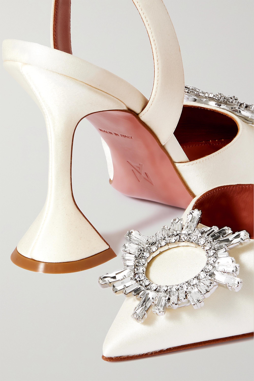 Amina Muaddi Begum Swarovski crystal-embellished satin slingback pumps