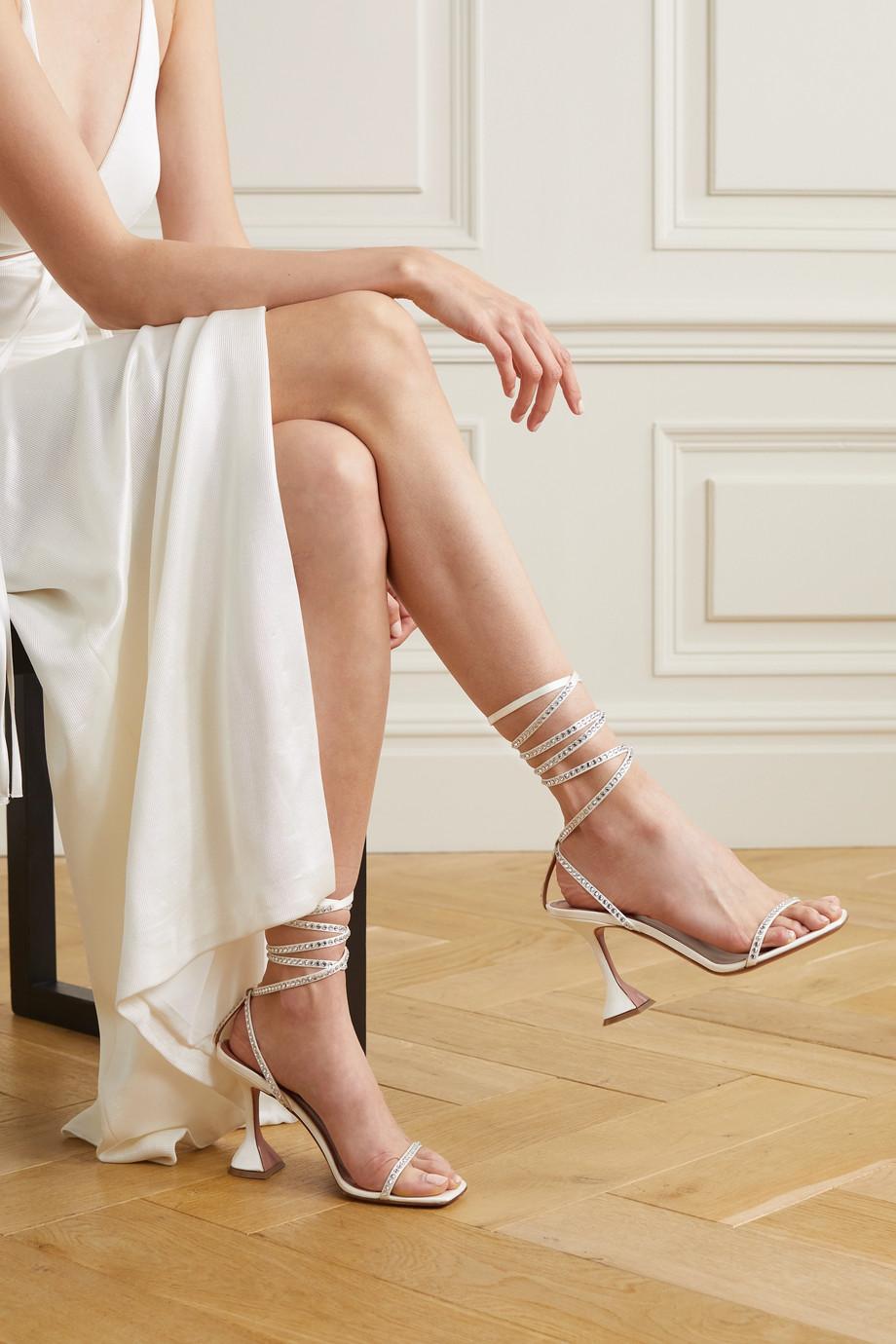Amina Muaddi Vita crystal-embellished satin sandals