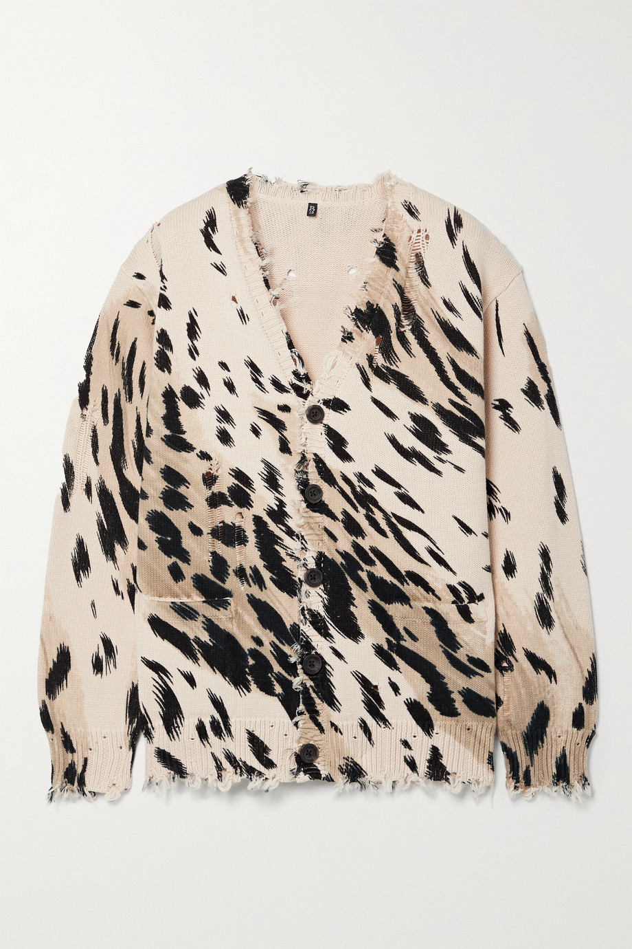 R13 Distressed cheetah-print cotton cardigan