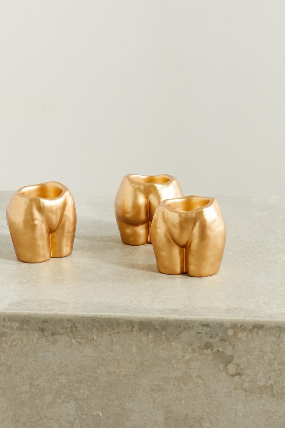 Anissa Kermiche Lot de trois bougeoirs en céramique Rock Bottom